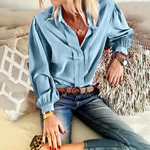 Casual loose solid color long-sleeved shirt