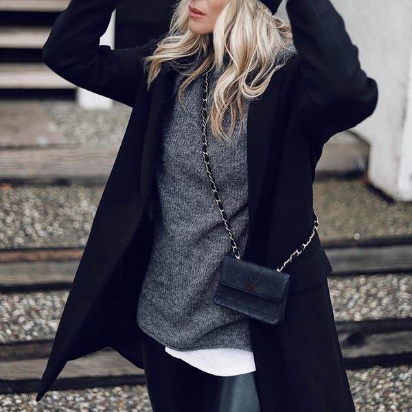 Stylish simple lapel solid color long-sleeved coat