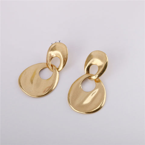 Women's matt gold wave face ring stud earrings