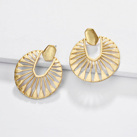 Fashion hollow fan-shaped women's earrings