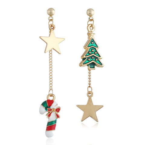 Fashion creative stars Christmas tree cane irregular earrings