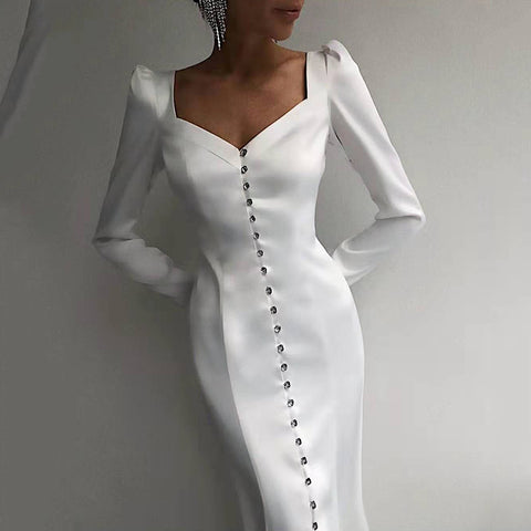 Fashion Heart-Shaped Collar Single-Breasted Slim Long-Sleeved Dress