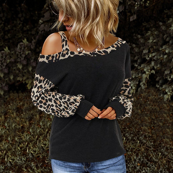 Fashion dew shoulder leopard stitching long-sleeved t-shirt