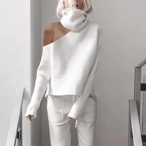 White High Neck Strapless Fashion Sweater