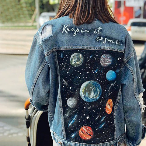 Women's street stitching denim jacket
