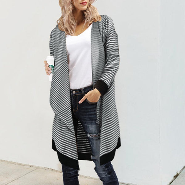 Wild Stripe Irregular Sweater Shawl Jacket Cardigan