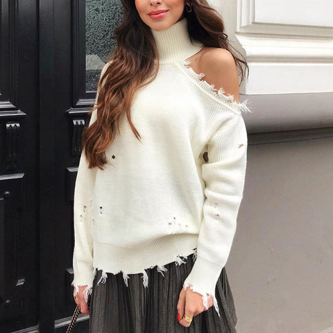 Fashion Solid Color High Collar Off-The-Shoulder Sweater
