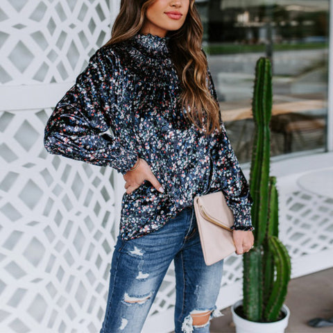 Fashion Printed Turtleneck Long Sleeve Top