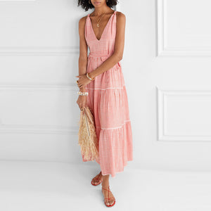 Vacation Casual Loose V-Neck Sleeveless Dress