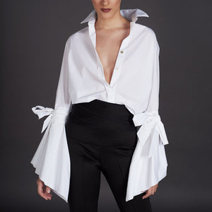 Fashion white long bell sleeves bow shirt