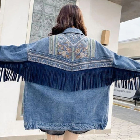 Ladies fashion personality fringed stitching denim coat