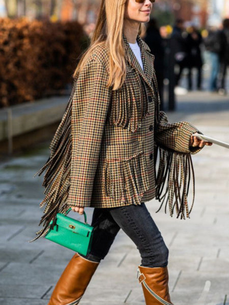 classic plaid fringe suit collar pockets long sleeves blazer