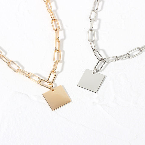 Fashion simple square tag necklace
