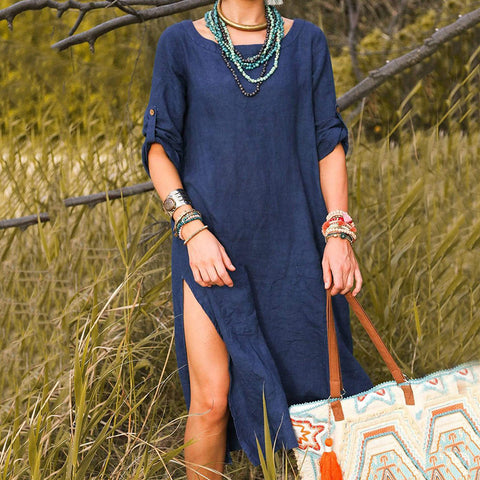 Casual long sleeve cotton and linen dress with round neck and slit