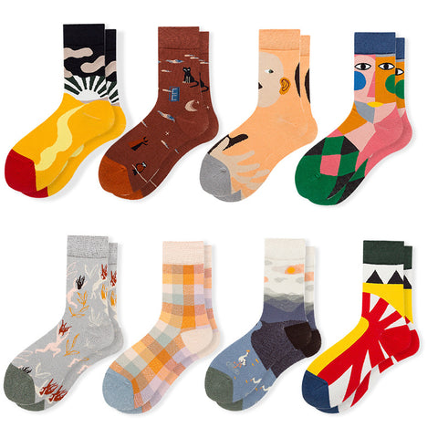 Fashion literary abstract printed cotton socks