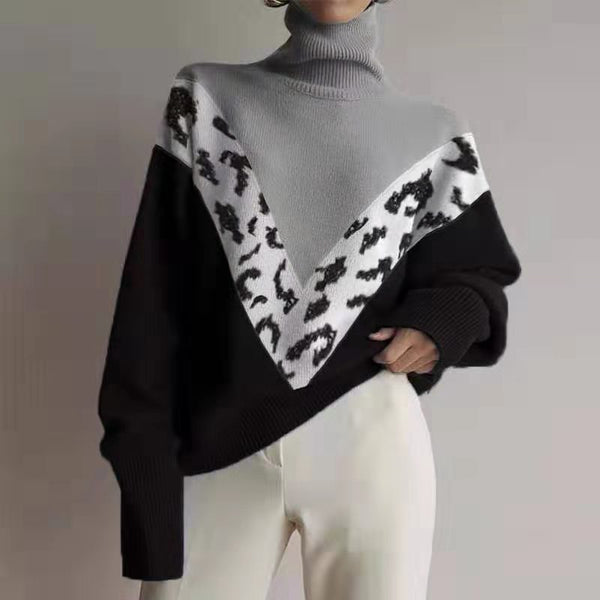 Women's high collar colorblock print sweater