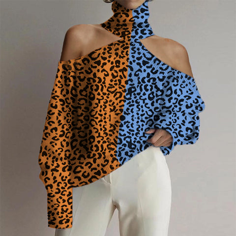 Women's Turtleneck Colorblock Leopard Print Sweater