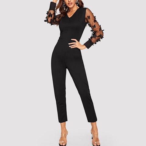 Women Elegant Butterflies Applique V-neck Long Sleeve Jumpsuit