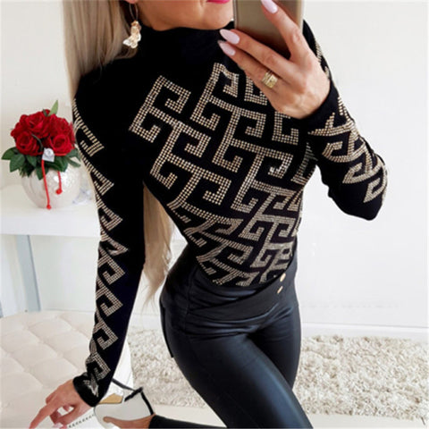 Sexy Round Neck Slim Print Black T-Shirt