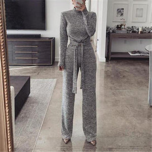 Casual High Neck Long Sleeve Jumpsuit