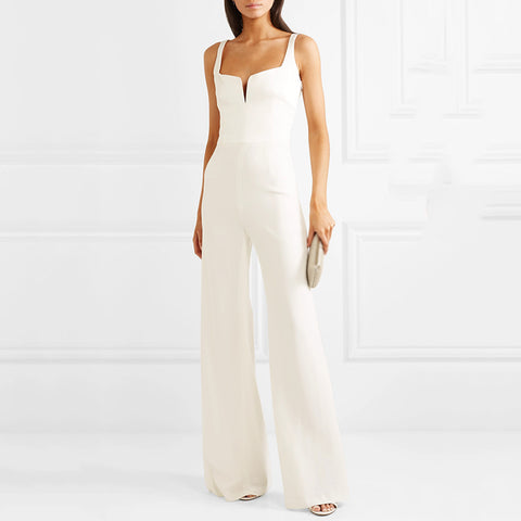 Shoulder small V sexy sleeveless wide leg jumpsuit
