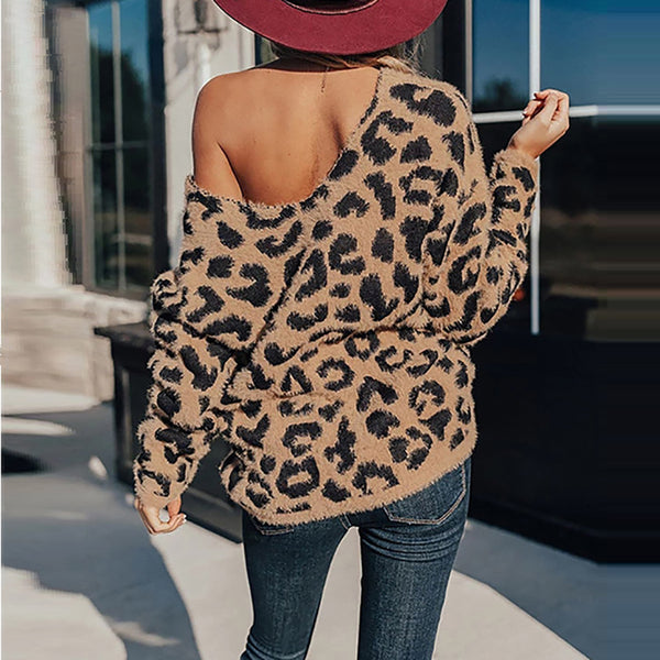 Women's V-neck Leopard Print Slant Shoulder Strap V-neck Top