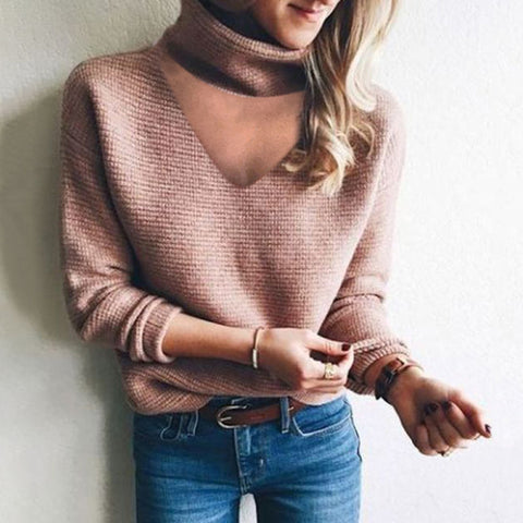 Ladies Fashion Casual V-Neck Sweater