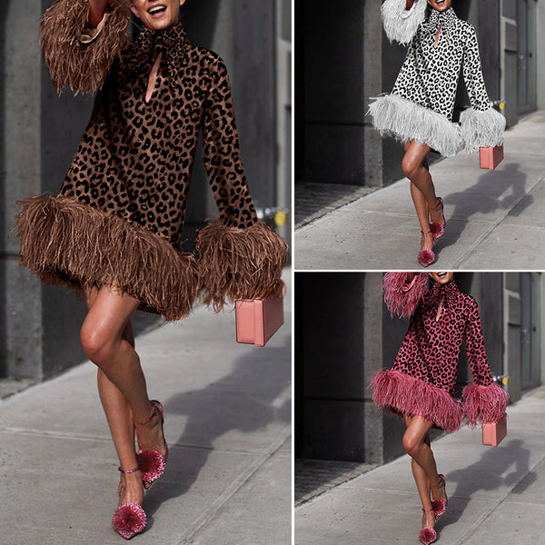 Fashion Leopard Print Long Sleeve Dress