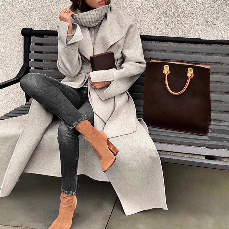 Fashion lapel solid color loose long coat