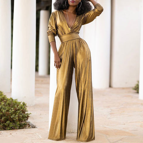 Fashion solid color deep V waist wide leg jumpsuit
