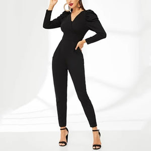 Elegant Puff Sleeve V-neck Waist One-Piece Garment