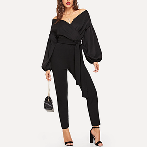 Stylish V-neck Long-sleeved Solid Colored Jumpsuit