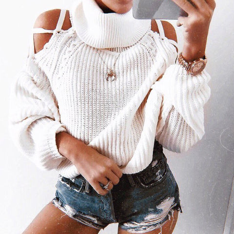 Sexy Bare Back Pure Colour Long Sleeve Sweater