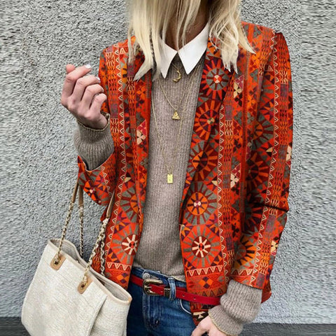 Fashion Turndown Collar Printed Colour Blazer