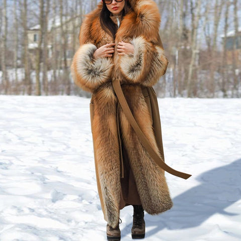 Women's fashion long fur overcoat
