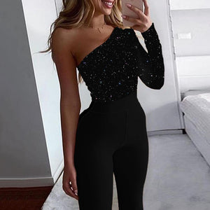 Glitter Skew Neck Long Sleeve Jumpsuit