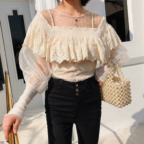 French elegant water soluble bud silk gauze top