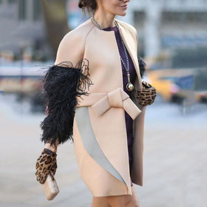 Women Fashion Round Neck Fur Sleeve Overcoat