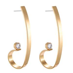 Exaggerated fashion metal irregular zircon earrings