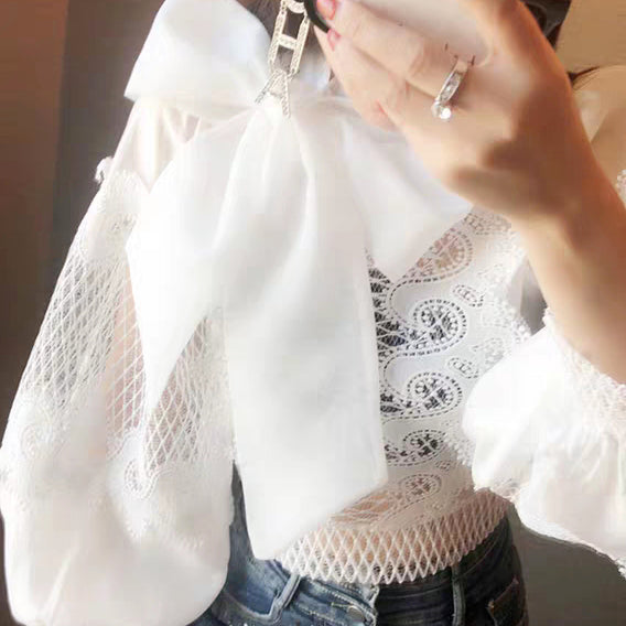 Modern Bishop Sleeve Bow-tied lace Blouse