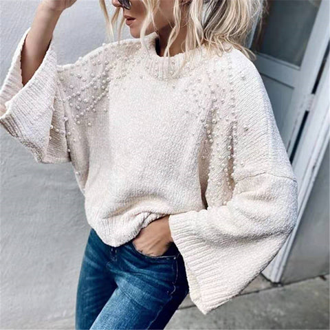 Fashion Round Neck Flare Sleeve Beige White Sweater