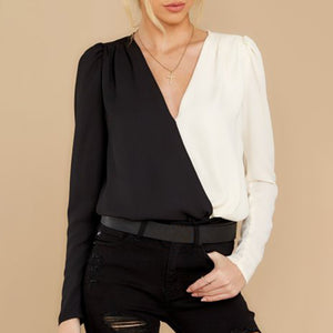 Fashion V Neck Color Block Blouse