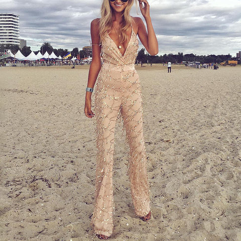 Sexy V Neck Off-shoulder Jumpsuit