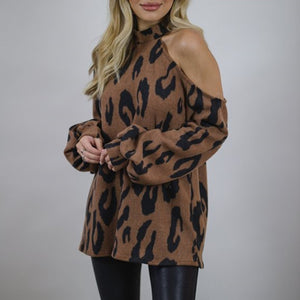 Women's Fashion Strapless Leopard Print Long Sleeve T-Shirt