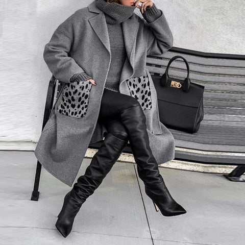 Fashion Lapel Plain Loose Long Coat