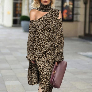Fashion Leopard Off Shoulder Turtleneck Dress