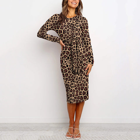 Fashion Round Collar Long Sleeve Leopard Print Dress