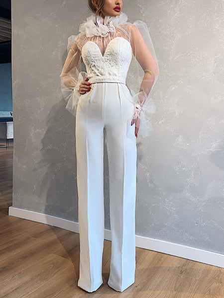 Fashion mesh splicing straight jumpsuit