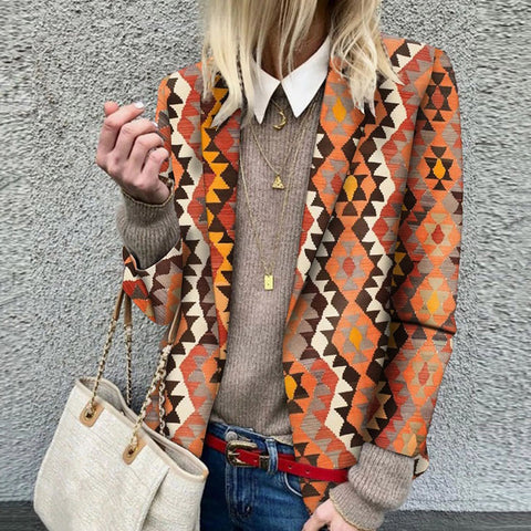 Vintage Printed Colour Long Sleeve Blazer