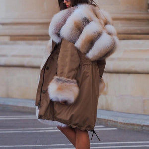 Winter long sleeves faux fur coat